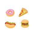 burger hot dog pizza donut set vector image vector image