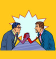 businessmen arm wrestling ties instead hands vector image vector image