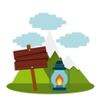 camping lantern in landscape vector image