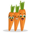 carrots vegetables comic character vector image vector image