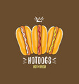 cartoon hotdogs icon set isolated on brown vector image