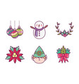 celebration decoration merry christmas icons vector image