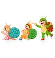 children wearing snail costume vector image vector image