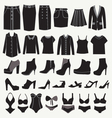 Clothes and shoes Fashion icon set vector image vector image