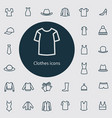 clothes outline thin flat digital icon set vector image