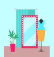 cozy shop with big mirror vector image vector image