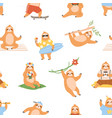 cute sloths pattern seamless background with lazy vector image