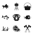 dishes from fish icons set simple style vector image
