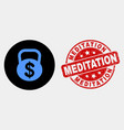 dollar weight icon and distress meditation vector image vector image