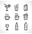 drink glass icons set vector image