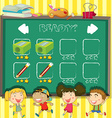 Game template with students in classroom vector image vector image