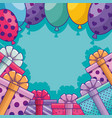 gifts boxes presents with balloons air frame vector image vector image
