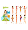 girls in bikini traveling summer in exotic place vector image vector image