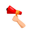 hand with megaphone isolated hand vector image