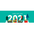 happy new year 2021 scandinavian winter city card vector image vector image