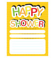happy shower invitational card vector image vector image
