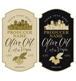 labels for olive oil with countryside landscape vector image vector image
