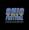 luxury poster chic festival blue font vector image