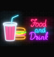 neon food and drink glowing signboard on a dark vector image vector image