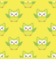 owl stylized art seamless pattern yellow green vector image
