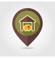 Pigsty flat mapping pin icon with long shadow vector image vector image