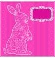 Pink background with rabbit vector image vector image