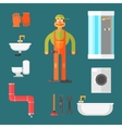 Plumber and Equipment vector image