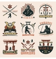 Samurai Colorful Emblems Set vector image vector image
