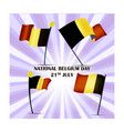 set of four flags of belgium on national day 21th vector image