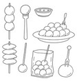 set of meatball vector image