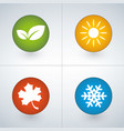 set of season icons in green yellow red and blue vector image vector image