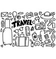 set of travel doodle symbols in vector image