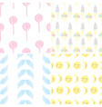 set seamless patterns from elements for unicorn vector image