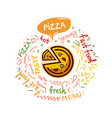 tasty fast food pizza menu vector image vector image