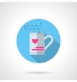 Valentines tea round flat icon vector image vector image