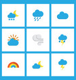 weather icons flat style set with outbreak frost vector image