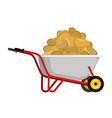 wheelbarrow and potato vegetables in garden vector image vector image