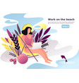 woman or female doing remote work on beach vector image vector image