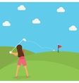 woman play golf put ball on green cartoon vector image
