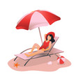 woman sunbathing at beach girl relaxing vector image