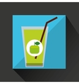 fresh juice green apple and cup glass straw design vector image