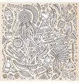 Tribal native American sketch set of symbols vector image