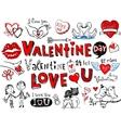 Valentine doodles vector image