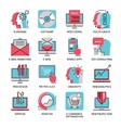 Thin line icons of media marketing advertising vector image