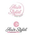 2 pink hair salon logo hair stylist emblem beauty