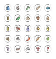 25 basic allergens and diet line icons set