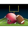 American Football and Helmet on Field vector image vector image