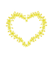 Beautiful Cassia Fistula Flowers in Heart Shape vector image vector image