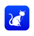 black cat icon digital blue vector image