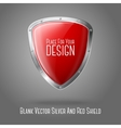 Blank red realistic glossy shield with silver vector image